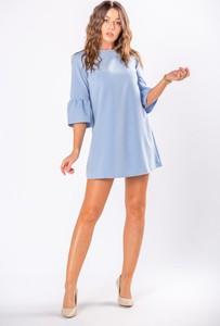 Niebieska sukienka Moda Dla Ciebie mini z długim rękawem