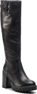 Czarne kozaki Quazi w stylu casual na obcasie przed kolano
