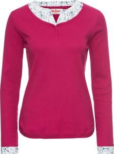 Różowa bluzka bonprix john baner jeanswear z długim rękawem
