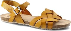 Żółte sandały Yokono ze skóry