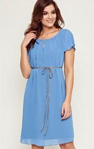Niebieska sukienka Kaskada z krótkim rękawem w stylu casual
