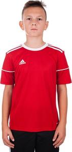 Czerwona koszulka dziecięca Adidas z dżerseju dla chłopców