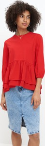 Czerwona bluzka Mohito z długim rękawem