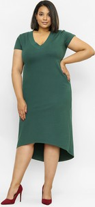 Zielona sukienka Freeshion z krótkim rękawem midi z dekoltem w kształcie litery v