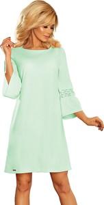 Miętowa sukienka NUMOCO z okrągłym dekoltem trapezowa