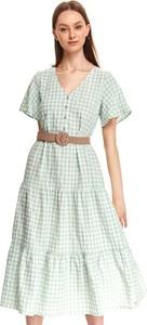 Zielona sukienka Top Secret z tkaniny z krótkim rękawem