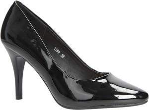 Czarne szpilki Sergio Leone na szpilce w stylu glamour na wysokim obcasie