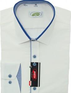 Niebieska koszula Marex Łódź z bawełny z włoskim kołnierzykiem z długim rękawem