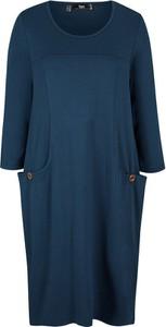 Niebieska sukienka bonprix w stylu casual z długim rękawem mini