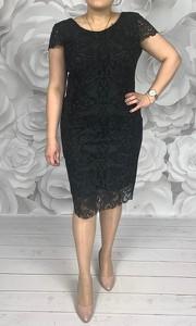 Sukienka Dorota z okrągłym dekoltem midi