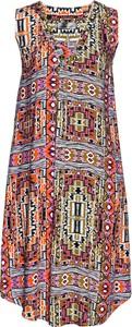 Brązowa sukienka bonprix bpc selection na co dzień w geometryczne wzory