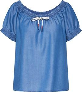 Niebieska bluzka Q/s Designed By - S.oliver z okrągłym dekoltem z krótkim rękawem