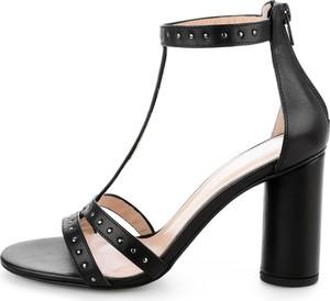 Czarne sandały Prima Moda na obcasie w stylu casual ze skóry