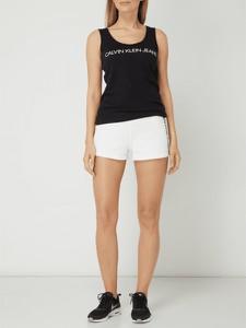 Czarna bluzka Calvin Klein w stylu casual z bawełny z okrągłym dekoltem