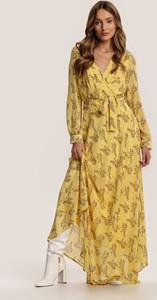 Sukienka Renee z długim rękawem maxi z dekoltem w kształcie litery v
