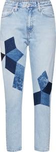 Niebieskie jeansy Calvin Klein w geometryczne wzory z jeansu