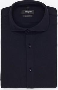Czarna koszula Recman z klasycznym kołnierzykiem z bawełny