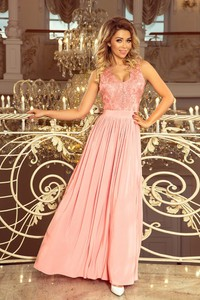 Różowa sukienka NUMOCO bez rękawów z dekoltem w kształcie litery v maxi