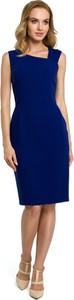 Niebieska sukienka MOE ołówkowa midi bez rękawów