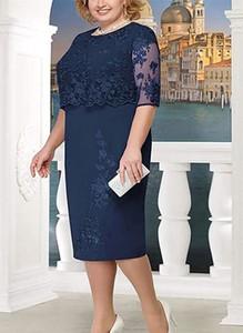 Niebieska sukienka Cikelly z okrągłym dekoltem ołówkowa midi