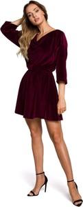 Czerwona sukienka MOE z długim rękawem mini z dekoltem w kształcie litery v