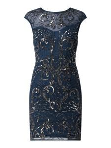 Granatowa sukienka Lace & Beads z krótkim rękawem z tiulu