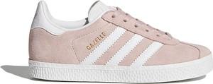 Różowe trampki dziecięce Adidas sznurowane z dzianiny w paseczki