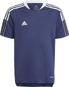 Granatowa koszulka dziecięca Adidas w paseczki dla chłopców