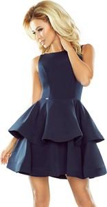 Sukienka NUMOCO rozkloszowana z dekoltem w łódkę z krótkim rękawem