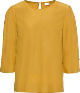 Żółta bluzka bonprix BODYFLIRT z długim rękawem z dekoltem w łódkę w stylu casual