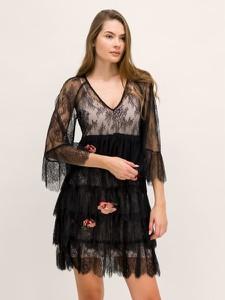 Czarna sukienka Twinset z dekoltem w kształcie litery v z długim rękawem