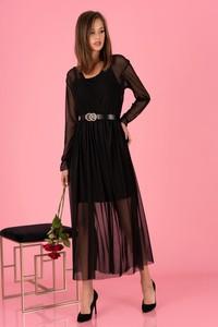 Czarna sukienka MERRIBEL z długim rękawem z tiulu