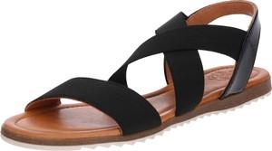 Czarne sandały Apple Of Eden w stylu casual z płaską podeszwą ze skóry