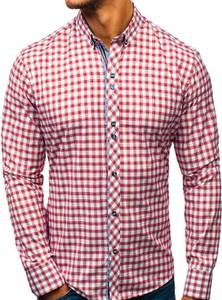 Różowa koszula Denley z klasycznym kołnierzykiem z długim rękawem