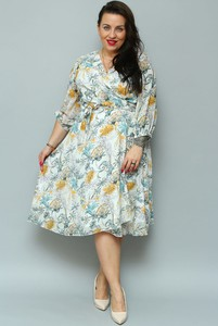 Sukienka KARKO midi z długim rękawem z szyfonu