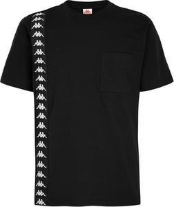 Czarny t-shirt Kappa z krótkim rękawem z bawełny