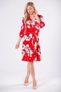 Czerwona sukienka candivia.pl trapezowa z długim rękawem
