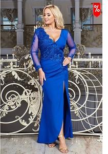 Niebieska sukienka Bosca maxi z dekoltem w kształcie litery v z długim rękawem