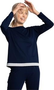 Granatowa bluzka Lalupa z bawełny w stylu klasycznym