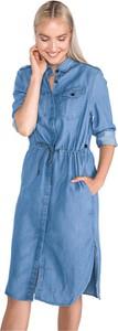 Niebieska sukienka G-Star Raw w stylu casual koszulowa