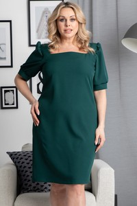 Zielona sukienka KARKO z krótkim rękawem z tkaniny