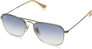 Okulary przeciwsłoneczne Ray-Ban RB 3603 złoty/Light Blue tekst cieniowany unisex