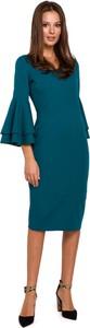 Sukienka Makeover midi z dekoltem w kształcie litery v z bawełny