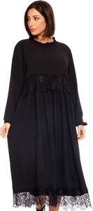 Sukienka Plus Size Fashion oversize maxi z długim rękawem