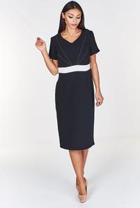 Czarna sukienka Fokus z krótkim rękawem midi z dekoltem w kształcie litery v