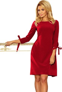 Czerwona sukienka Moda Dla Ciebie z długim rękawem mini