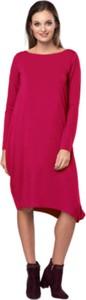 Czerwona sukienka Look made with love midi z długim rękawem