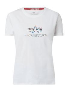 T-shirt Alpha Industries z bawełny z krótkim rękawem w młodzieżowym stylu
