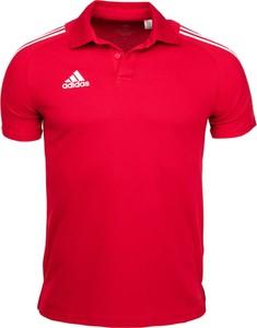 Czerwona koszulka polo Adidas z krótkim rękawem w sportowym stylu