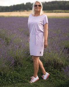 Fioletowa sukienka Dreskot z bawełny mini z okrągłym dekoltem